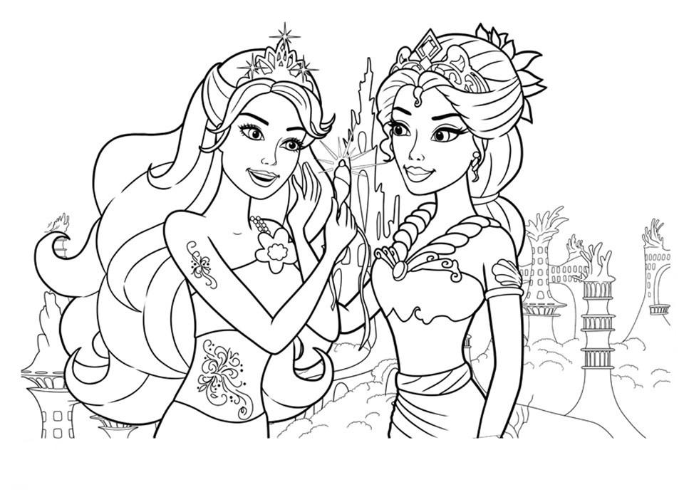 Barbie Sereia - Desenho pra pintar, colorir e imprimir - Mermaid 18 - Barbie e amiga