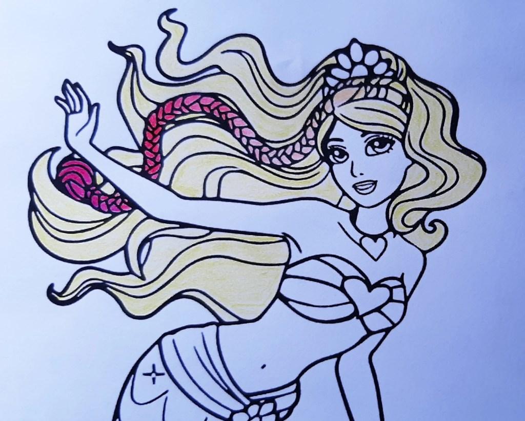 Barbie Sereia - Veja como colorir este lindo desenho da sereia, com estilos degradê e fofo - Kawaii 02
