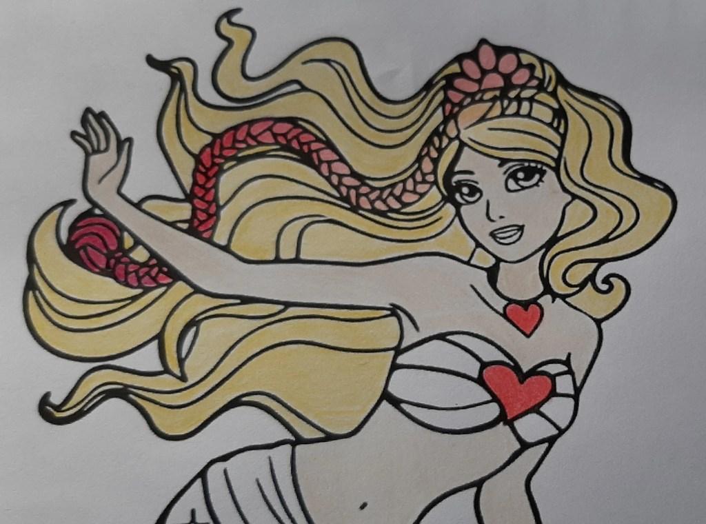 Barbie Sereia - Veja como colorir este lindo desenho da sereia, com estilos degradê e fofo - Kawaii 03