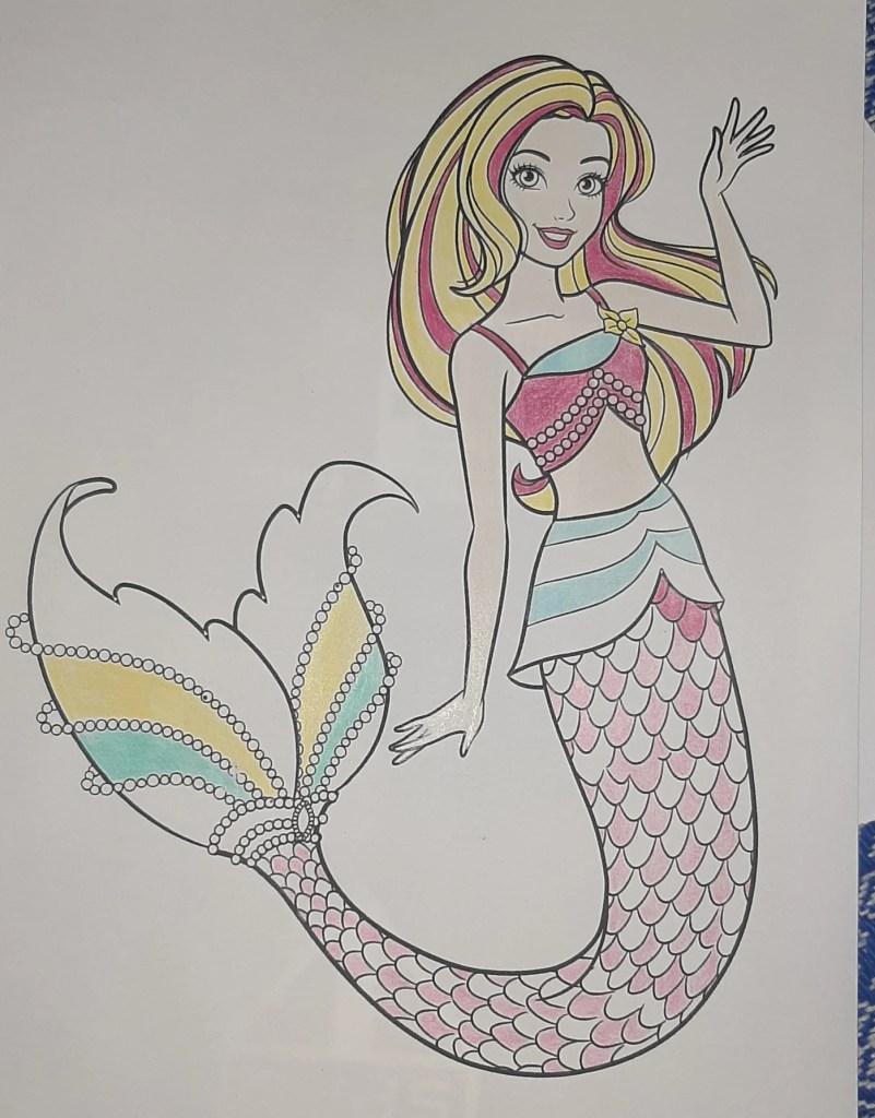 Boneca Barbie Dreamtopia Sereia - Mermaid - Colorindo um lindo desenho da Barbie - Passo a passo com lápis de cor 05