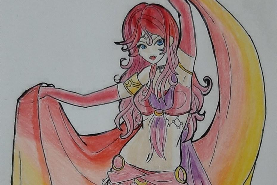 Colorindo uma lineart de Dançarina do Ventre - Belly Dancer Fanart - Namtia Topo