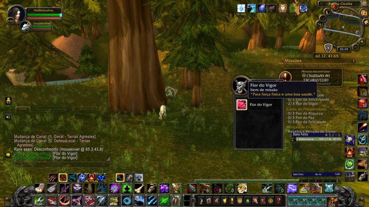 World of Warcraft - Pegando uma das flores no mapa