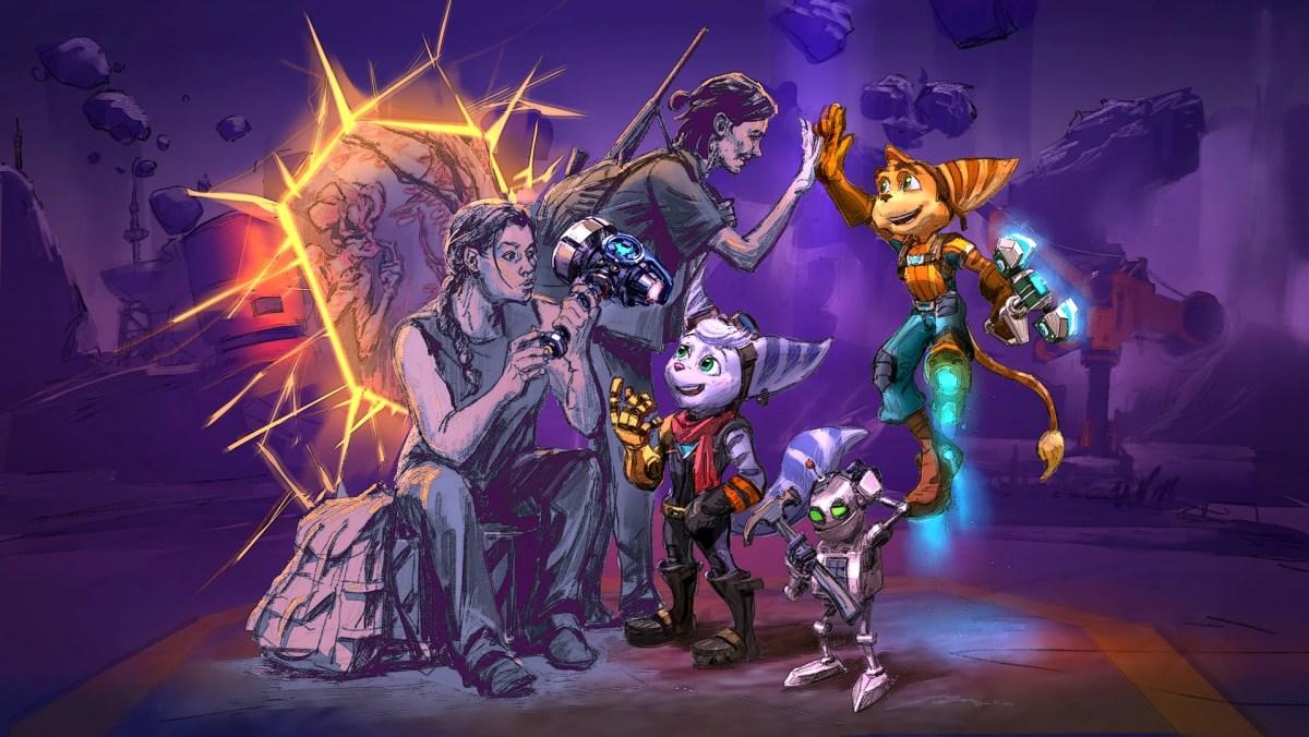 Arte Wallpaper de Ratchet and Clank com The Last of Us Part II