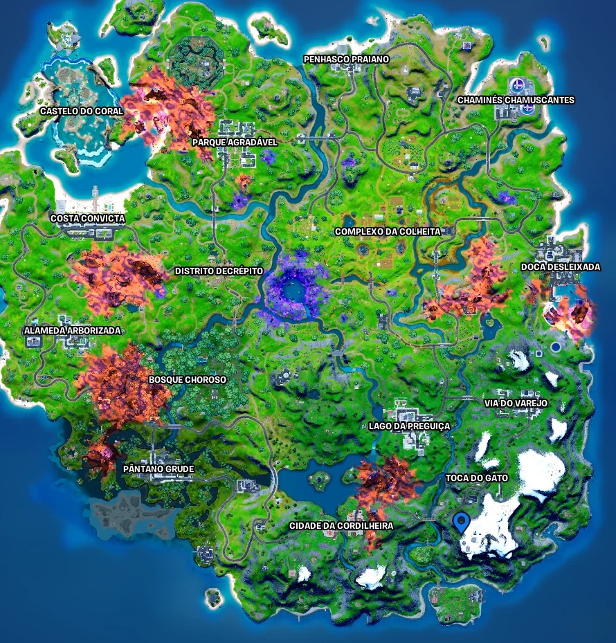 Fortnite - Mapa com a localização do J B Chimpanski - 02