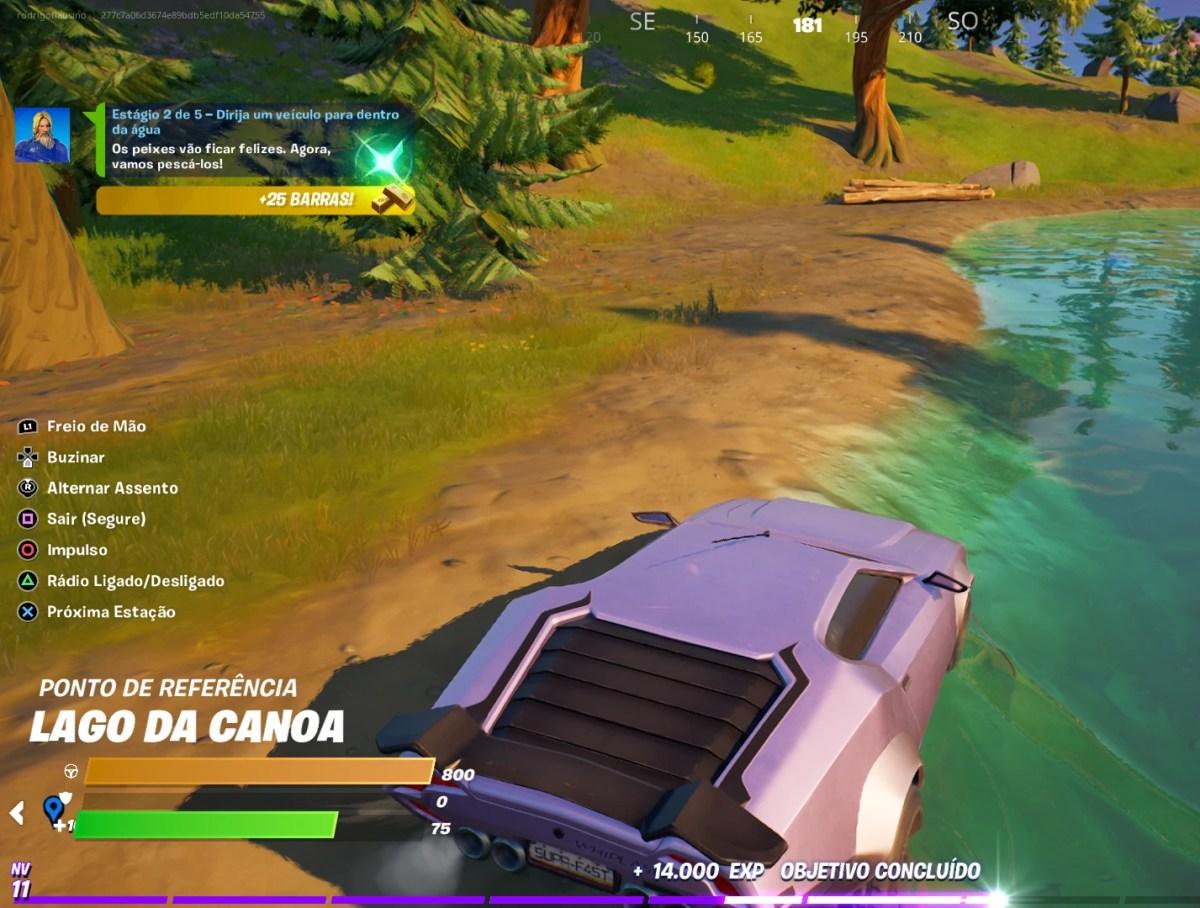 Guia de Fortnite - Dirija um veículo para dentro da água - 02