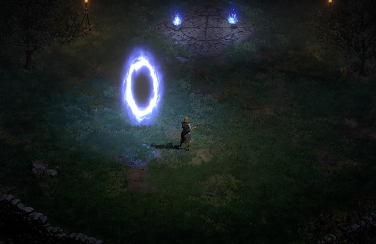 Diablo II - PC Screenshot Progressão - Na frente de um portal para a cidade