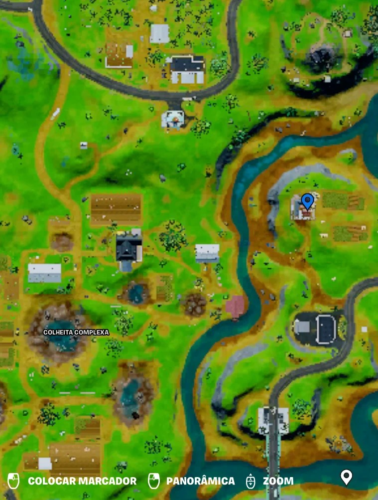 Fazenda do Aço em Fortnite - Mapa com a localização