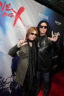 "Yoshiki and Gene Simmons seen at The Los Angeles Premiere ""We Are X"" on Monday, October 03, 2016, in Los Angeles, CA. (Photo by Eric Charbonneau/Invision for Drafthouse Films/AP Images)"