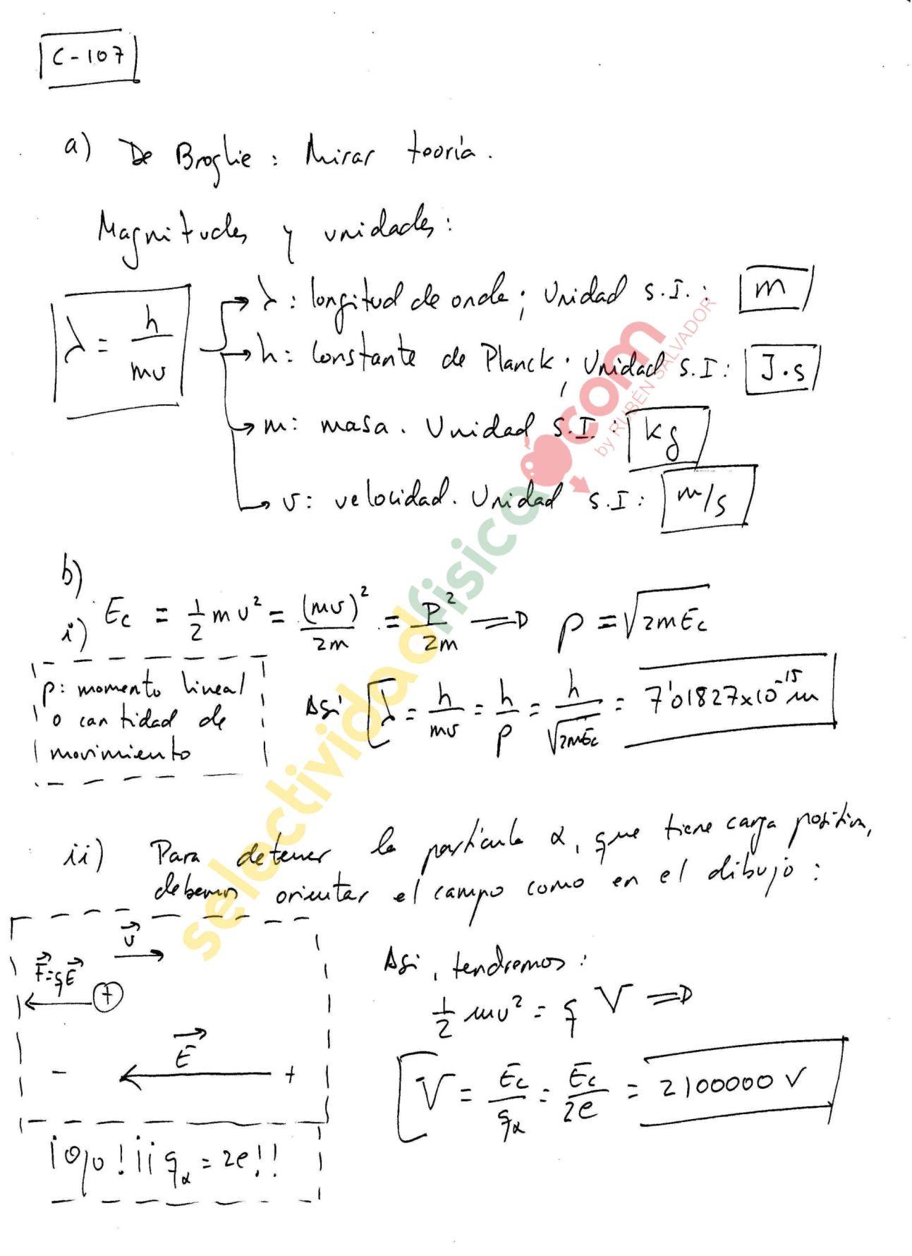 Ejercicio resuelto selectividad física Cuántica c-107