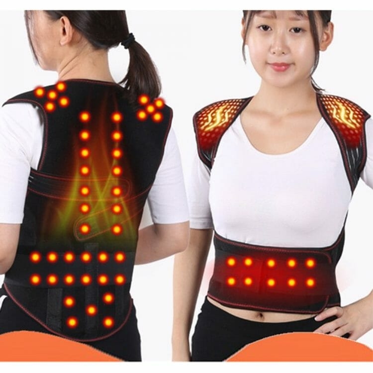 Magnetic Back Support Magnets Heating Therapy Belt Waist Brace Posture Corrector