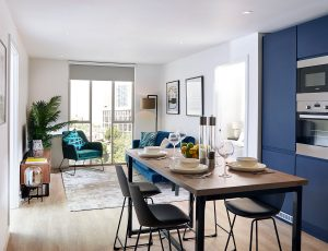 Render showing an example kitchen at Affinity Living Riverview, including a floor-to-ceiling window and open kitchen with dining table