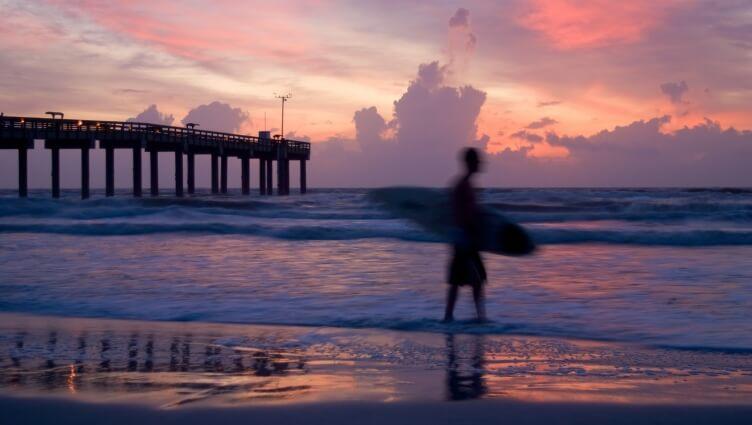 surfer at St Augustine beach
