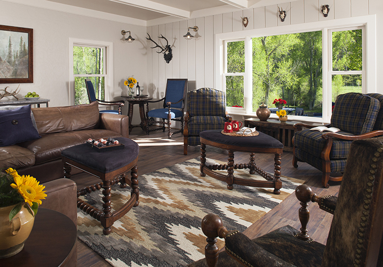 antler on the creek room with lodge or log cabin style decor