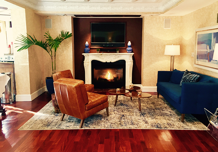 Chateau_Lobby_Fireplace common area mid century feel