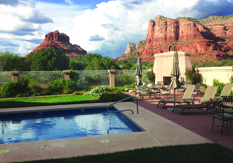 canyon villa poolside views of the red rock formations in the background
