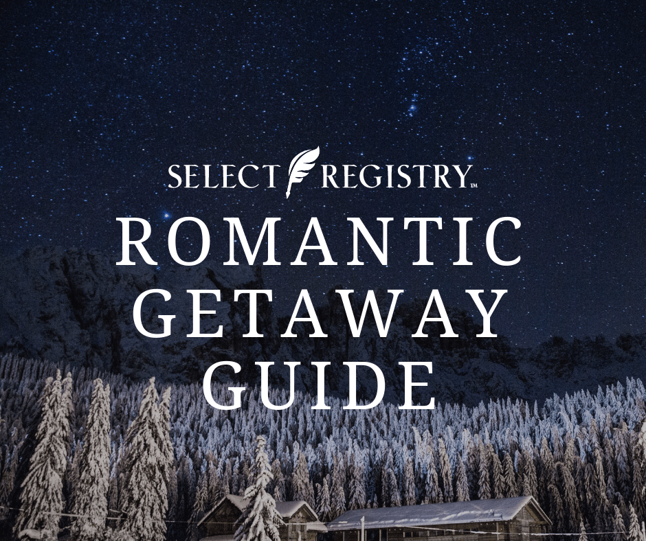 select registry's romantic getaway guide photo of cabin in the winter in the woods