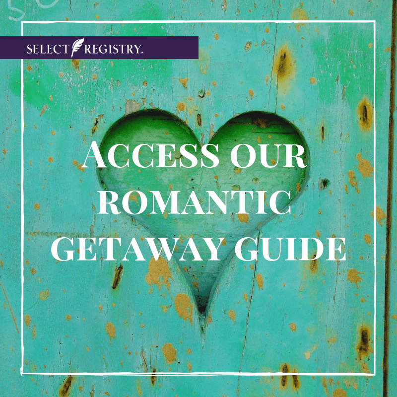 heart cut out of teal-painted metal. text reads, access our romantic getaway guide.