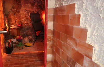 Stacked pink Himalayan salt bricks
