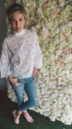 Tibi beaded blouse. Elizabeth & James jewelry. Parker Smith jeans.