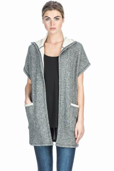 Charcoal Short Sleeve Cardigan.