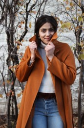 Mijeong Park handmade coat, Maison Père sweater, Frame denim, Lizzie Fortunato earrings.