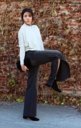 Nili Lotan sweater and jeans, Bitte Kai Rand fur bag, Elizabeth & James earrings