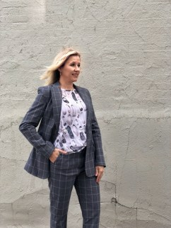 Kal Rieman Suit, Bitte Kai Rand Top, Melinda Maria Earrings.