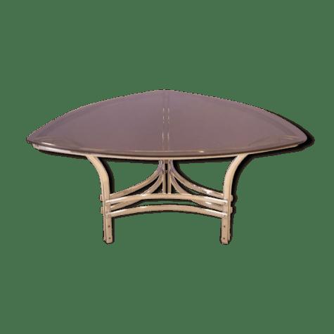 table a repas triangulaire en courbe en verre fume et metal design des annees 70