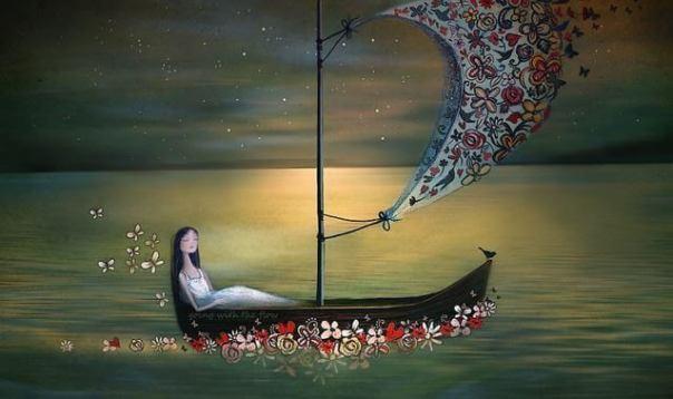 Mujer-en-una-barca-con-flores-navegando