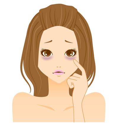 目の下のたるみに悩む女性の画像