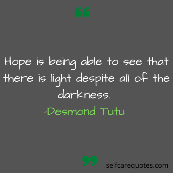 Hope is being able to see that there is light despite all of the darkness. -Desmond Tutu
