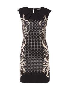 montego kleid mit ornamentalem muster und gelegten falten schwarz 94712354b04d8384x500f