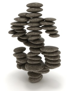 Dollar stability. Pebble stack