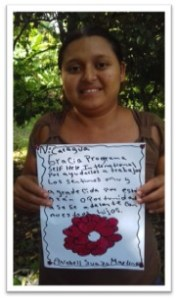 Anabel with her thank you note to donors