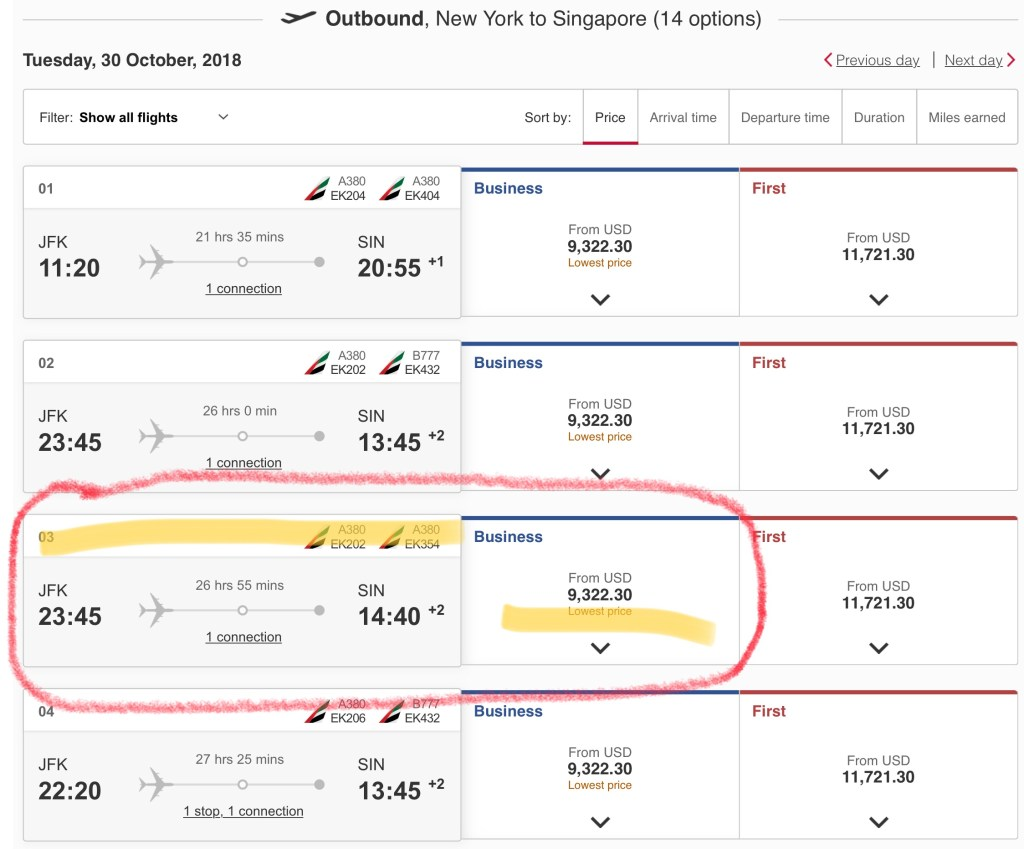 The actual cost of an Emirates Business Class flight from JFK to Dubai to Singapore