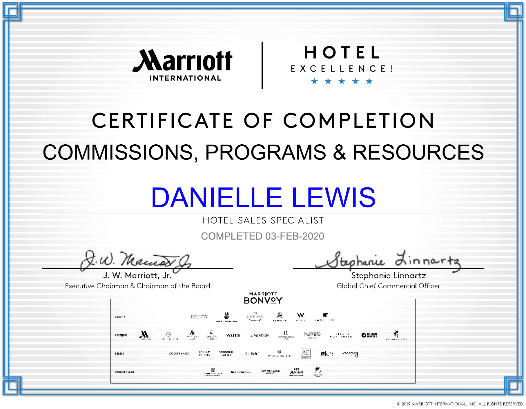 SelfishMe Travel - Marriott International Commission Programs and Resources Certificate