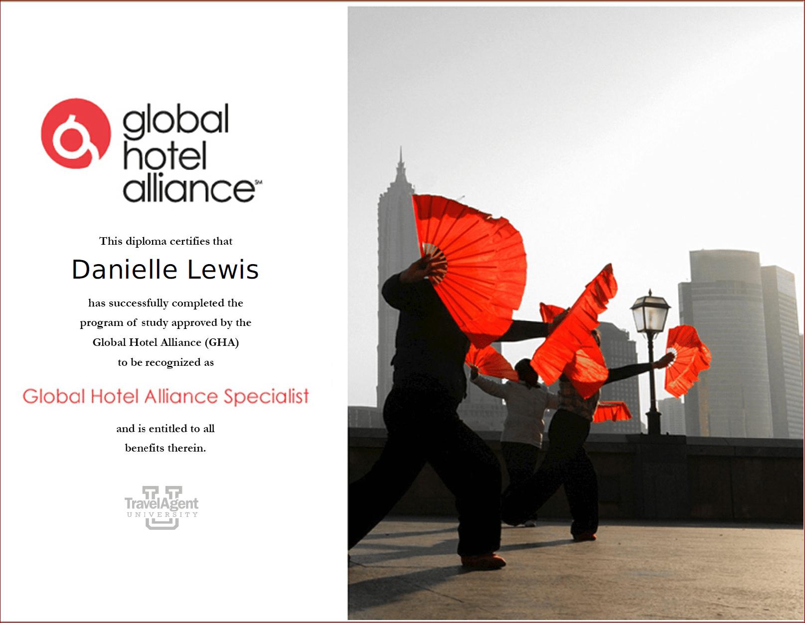 SelfishMe Travel - Global Hotel Alliance (GHA) Specialist Certificate
