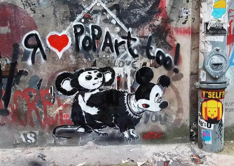 Cheburashka vs Mickey Mouse rat-stencil-street-art-by-Ostap-Berlin2016
