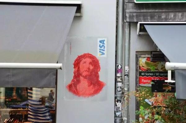 Jesus Visa Card- Stencil graffiti by Ostap at Berlin Kastanienallee, 2013
