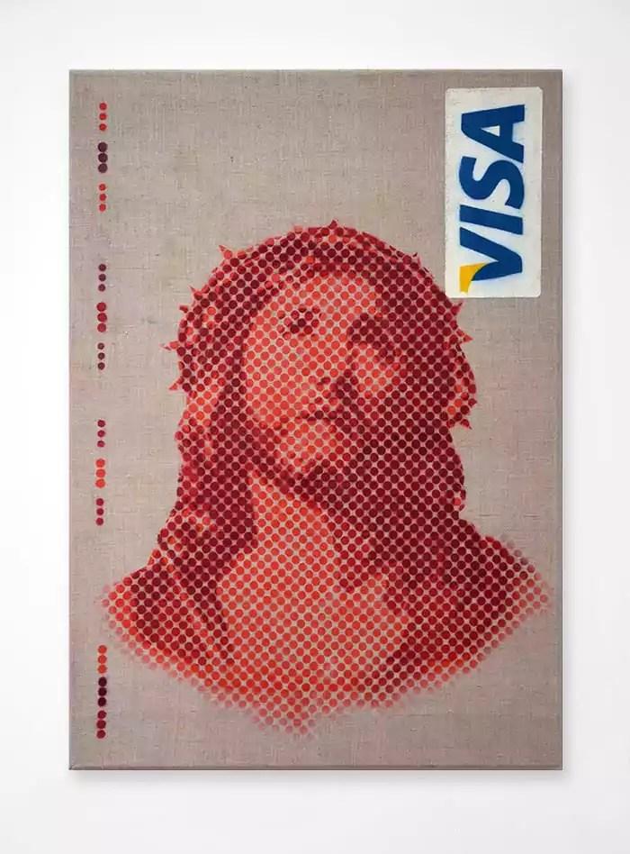 Icon 2.0 - Jesus visa card canvas version. 100x70cm. 2014