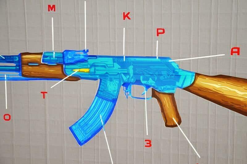 Nahaufnahme von AK 47- Pop Art aus Klebeband