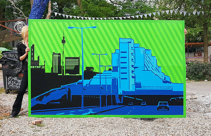 Berlin skyline- finished duct tape artwork- live show by Ostap