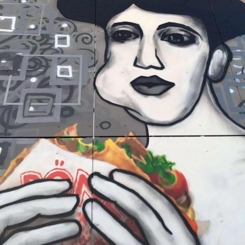 Close-up - Portrait of Adele Bloch-Bauer with Döner Kebab- Street Art by Selfmadecrew- Abhörstation- Berlin-Teufelsberg 2016