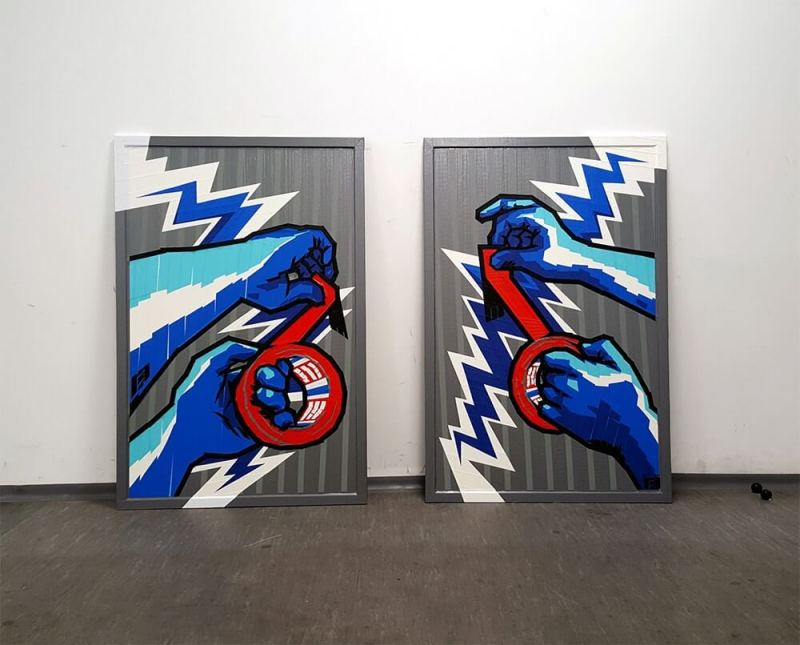 Post image- tape art diptych for adhesive tape manufacturer tesa- commission by Ostap
