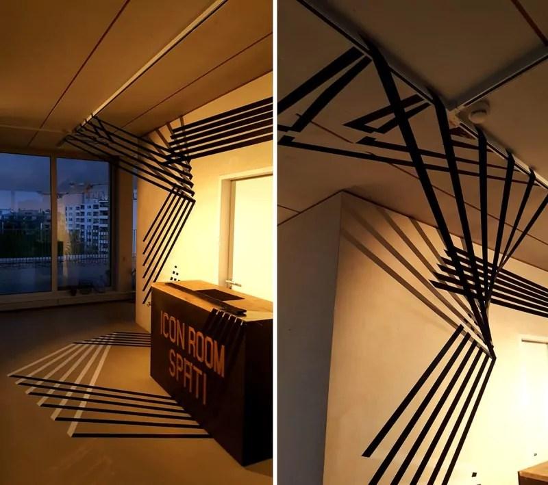 3D-Tape-Art-Rauminstallation-Innendesign-Auftrag-Nahaufnahme