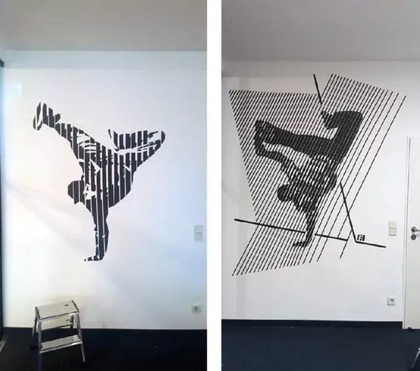 Breakdancer B-Boy- Zwei Wand GraffitisausKlebeband
