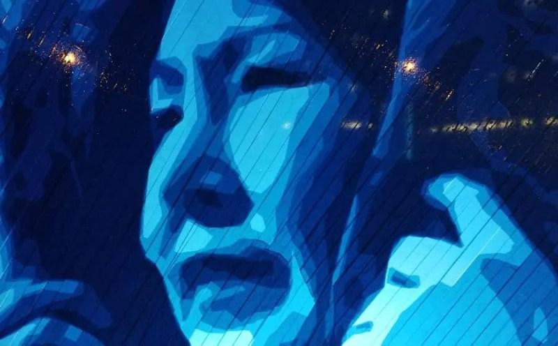 Eskimo Woman - Packaging Tape Street Art Portrait - Closeup