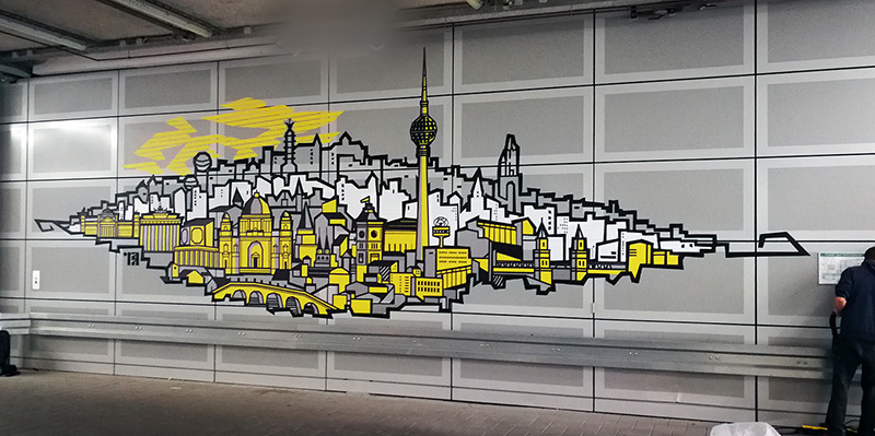 Tape art by Selfmadecrew for German National Bank in Berlin