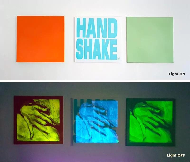 Hand Shake (Serie), 2017-Unsichtbare Kunst- Triptych
