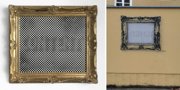 Optical stencil spray art, 60x90 cm, 2018
